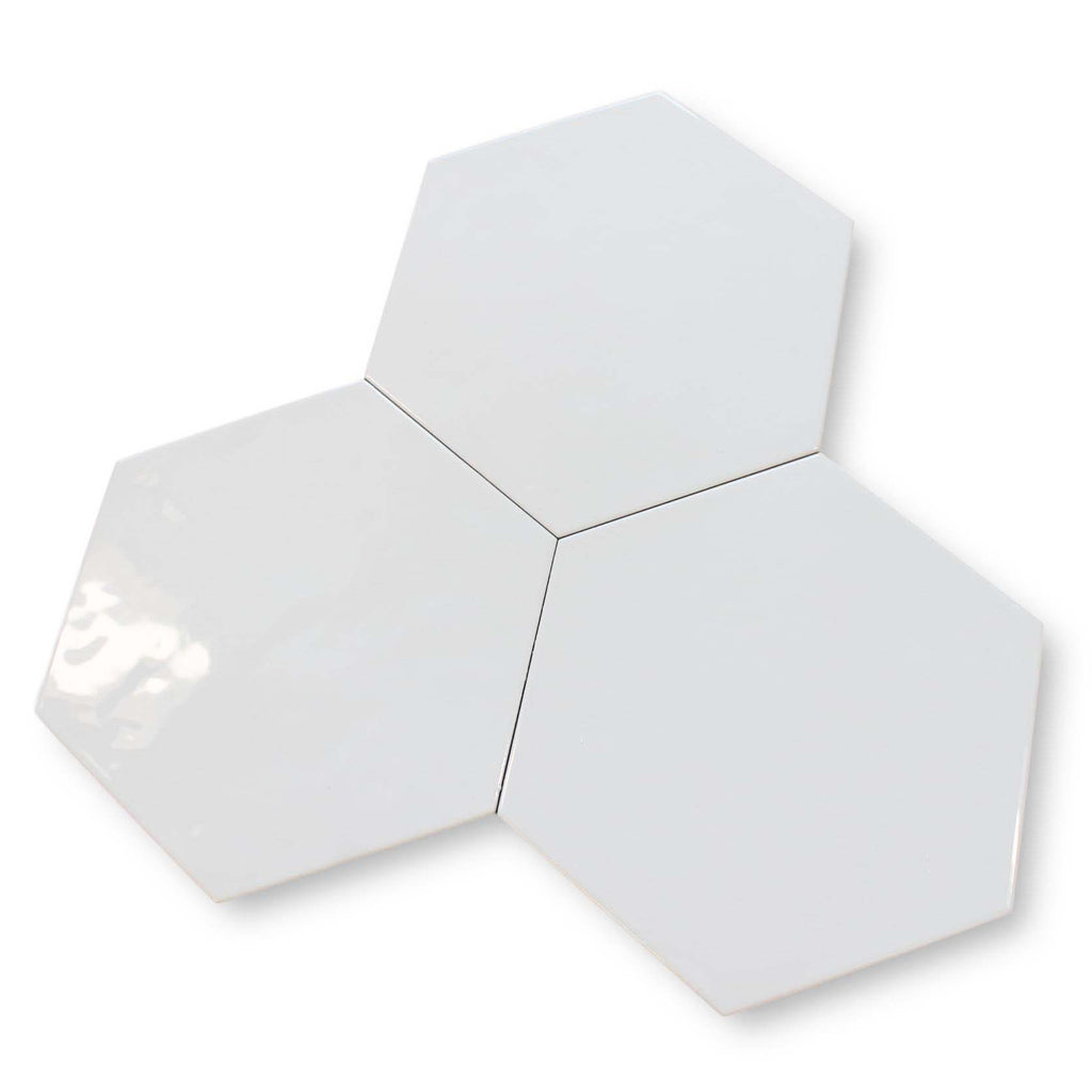 "Konzept Glazed Porcelain 7"" x 8"" Hexagon Tiles - Terra Bianca Glossy"