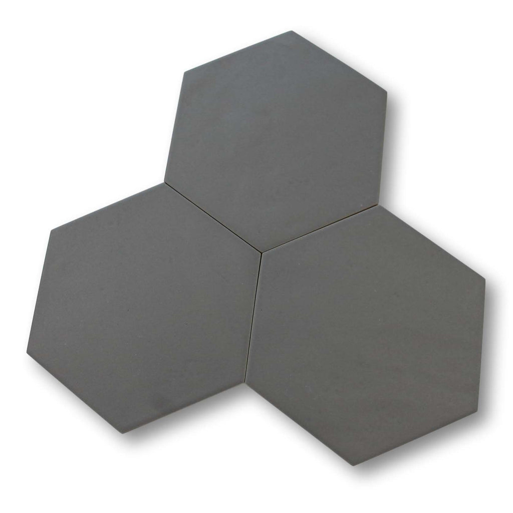 "Konzept Glazed Porcelain 7"" x 8"" Hexagon Tiles - Terra Grigia Matte"
