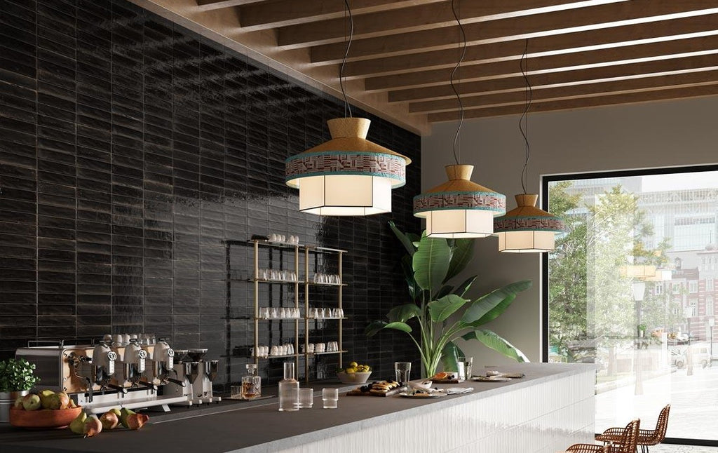 "Lume 2""x 9"" Glazed Porcelain Subway Tiles - Glossy Black"