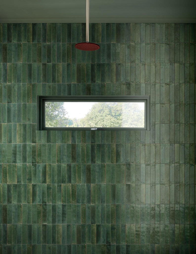 "Lume 2""x 9"" Glazed Porcelain Subway Tiles - Glossy Green"