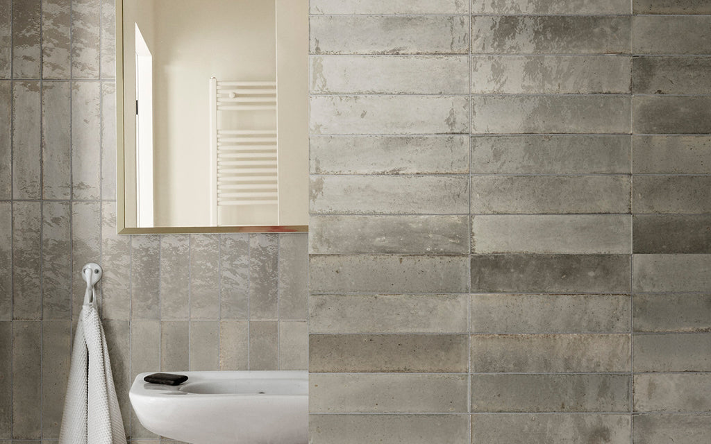 "Lume 2""x 9"" Glazed Porcelain Subway Tiles - Glossy Greige"