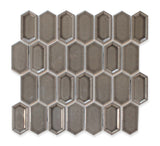Matrix Long Hexagon Ceramic Mosaic Tile - Charcoal