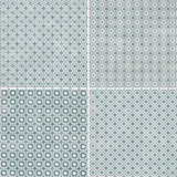 "Melody 8"" x 8"" Glazed Porcelain Patterned Tiles - Green and White Blend"