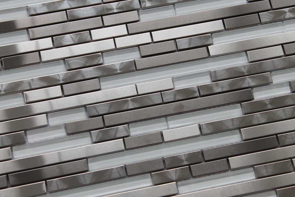 Stainless Steel And White Glass Random Strips Mosaic Tiles