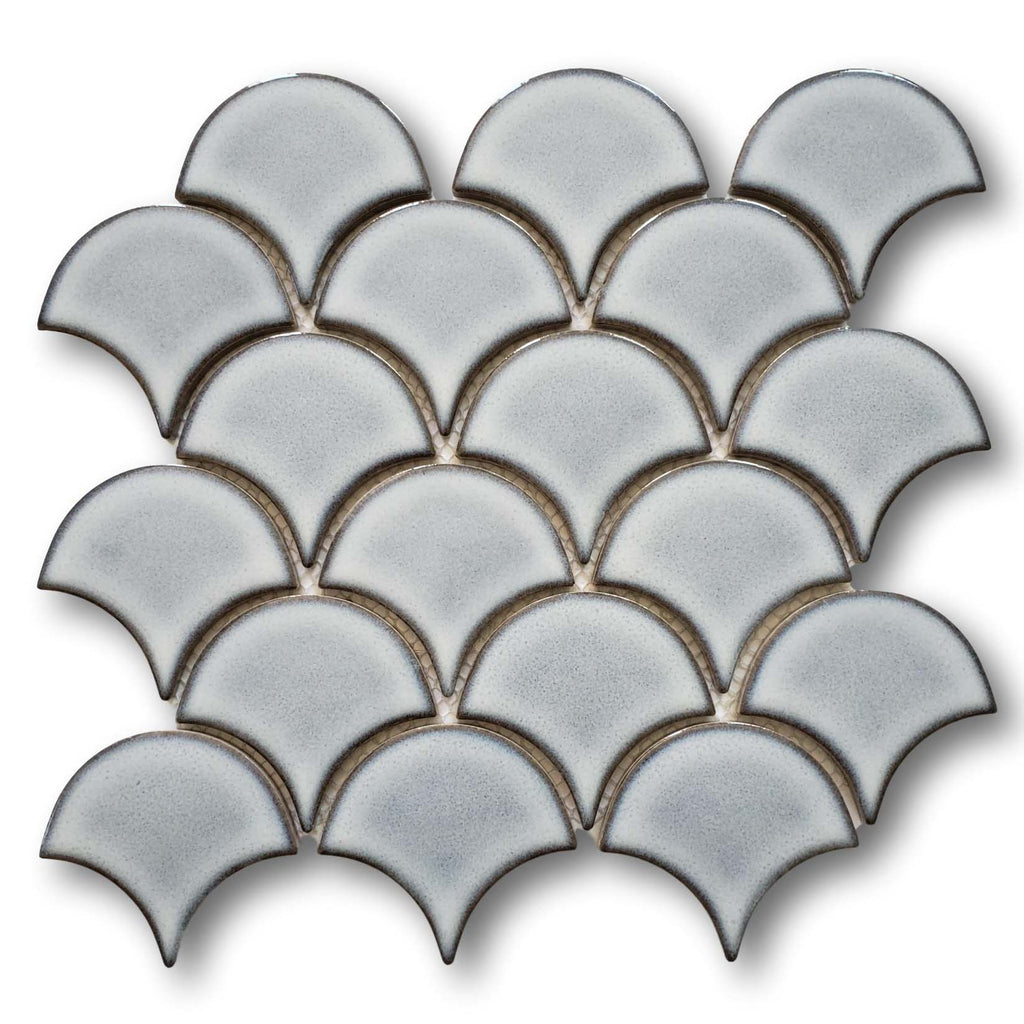 Modelli Glossy Porcelain Fish Scale Mosaic Tiles - Silver