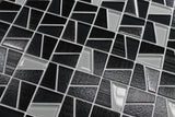 Molen Black Textured and Platinum Mosaic Tiles - Rocky Point Tile - Glass and Mosaic Tile Store
