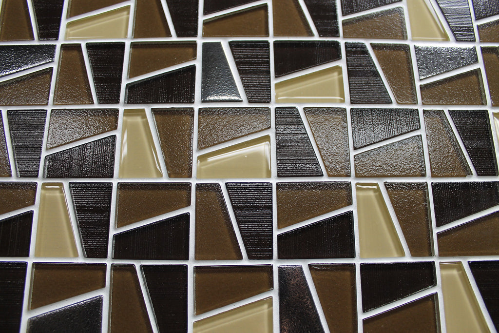 Molen Brown Textured and Platinum Mosaic Tiles - Rocky Point Tile - Glass and Mosaic Tile Store