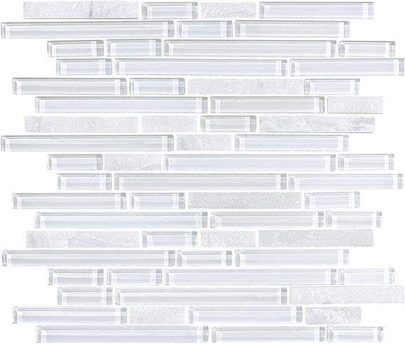 Bliss Norwegian Ice Stone and Glass Strip Mosaic Tiles - Rocky Point Tile - Glass and Mosaic Tile Store