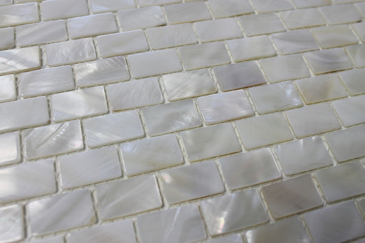 Mother Of Pearl Oyster White Small Subway Mosaic Tiles