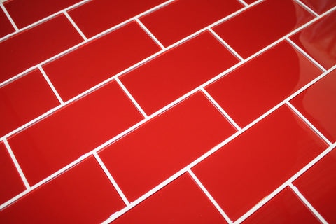 Passion Red 3x6 Glass Subway Tiles - Rocky Point Tile - Glass and Mosaic Tile Store