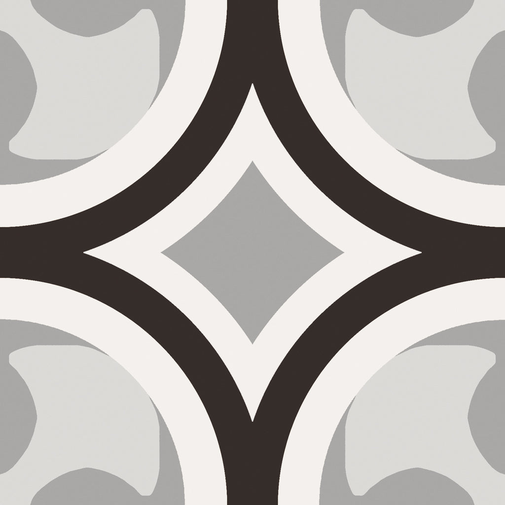 Patchwork Porcelain 8 x 8 Cement Look Tiles - Black and White 01