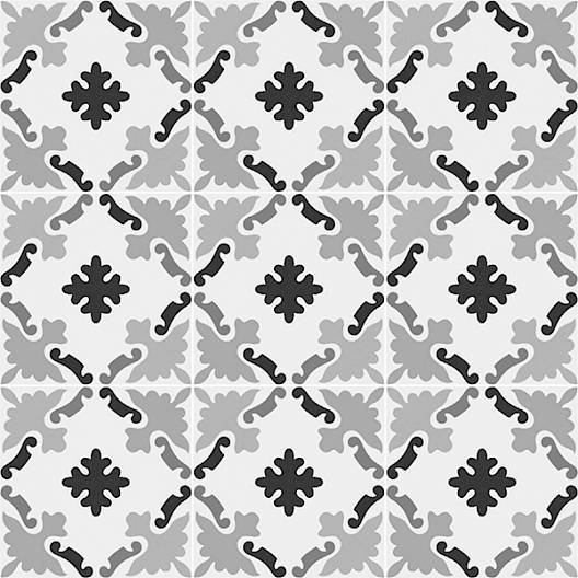 Patchwork Porcelain 8 x 8 Cement Look Tiles - Black and White 03