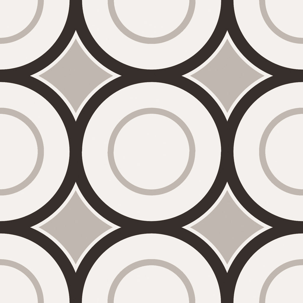 Patchwork Porcelain 8 x 8 Cement Look Tiles - Black and White 05