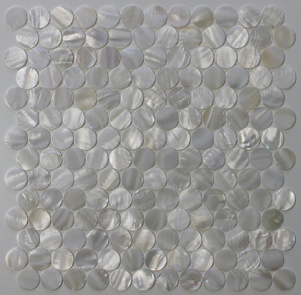 Mother Of Pearl Oyster White 1 Inch Circle Mosaic Tiles