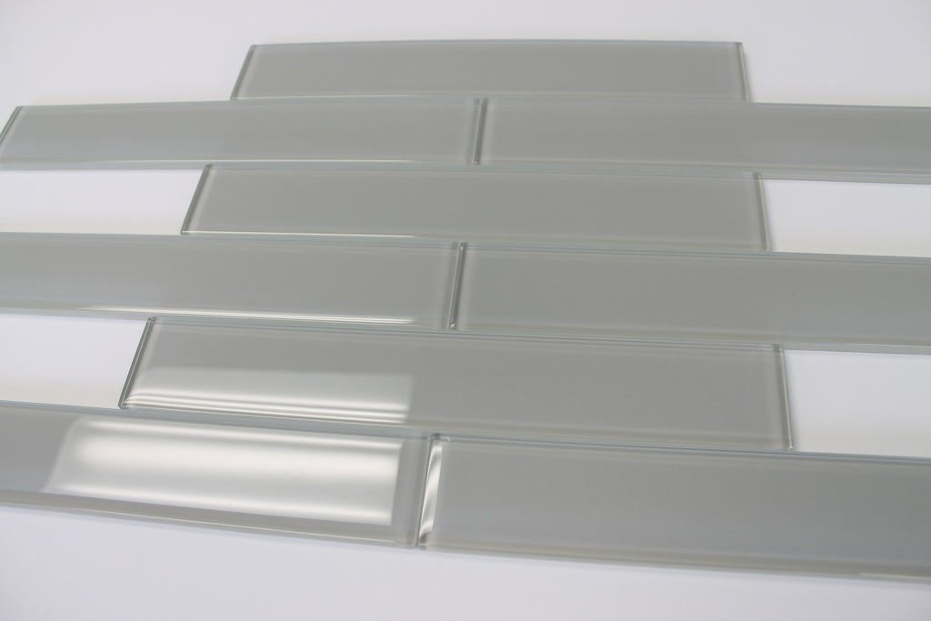 Pearl Gray 2x12 Glass Subway Tiles - Rocky Point Tile - Glass and Mosaic Tile Store