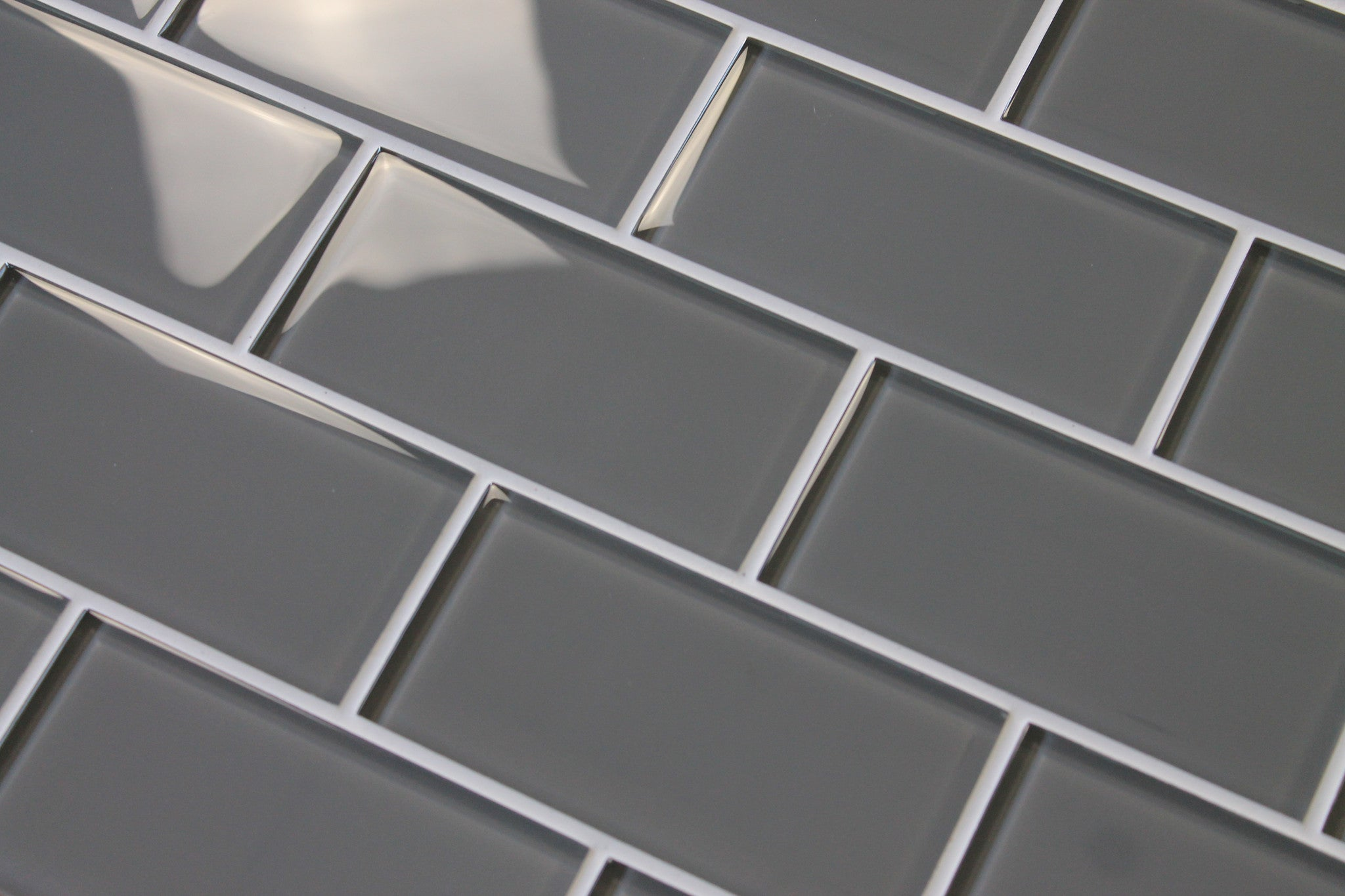 Gray Glass Subway Tile Backsplash Kitchen