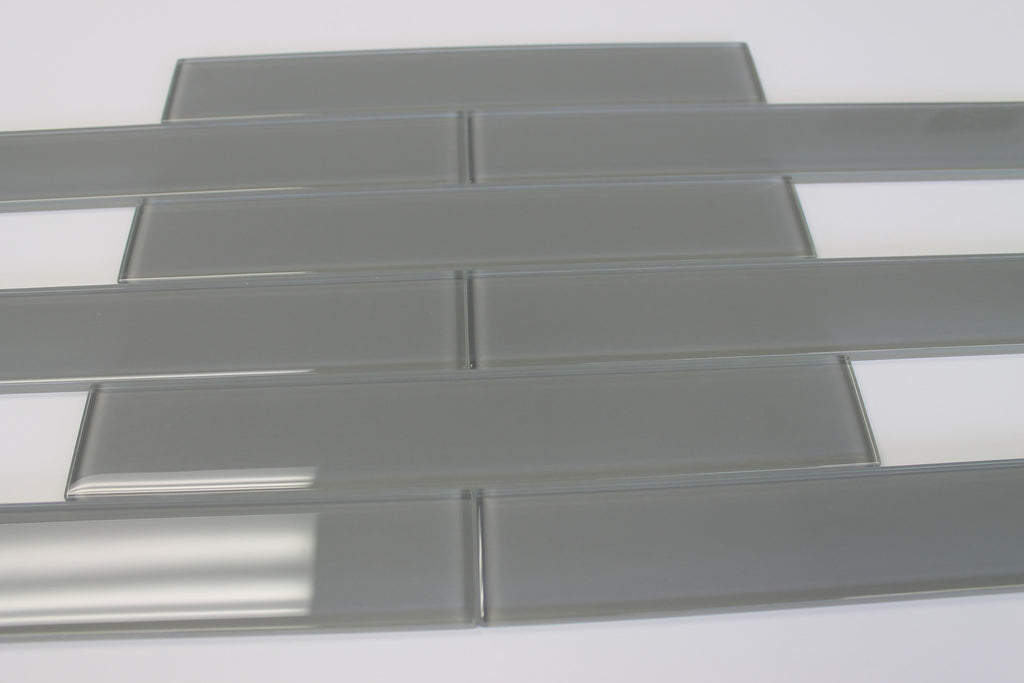 Pebble Gray 2x12 Glass Subway Tiles - Rocky Point Tile - Glass and Mosaic Tile Store