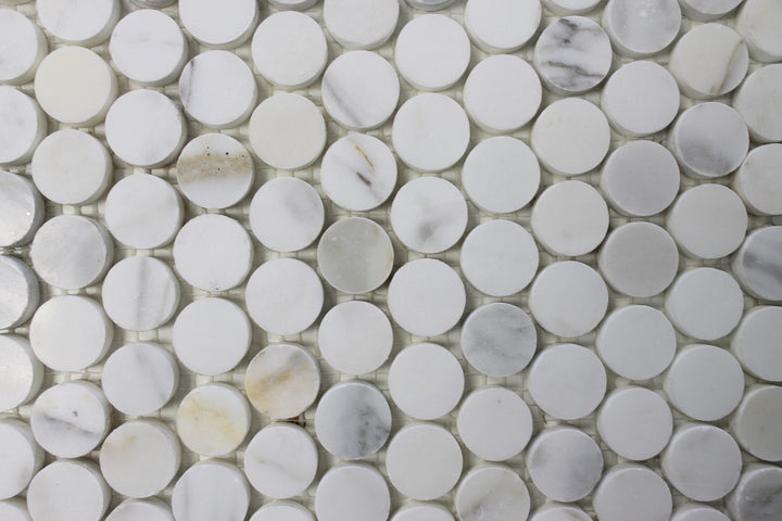 Calacatta Gold Penny Round 1 Inch Polished Marble Mosaic Tiles - Rocky Point Tile - Glass and Mosaic Tile Store