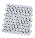 "Queens 1"" Penny Round Mosaic Tiles - Snow Wolves"