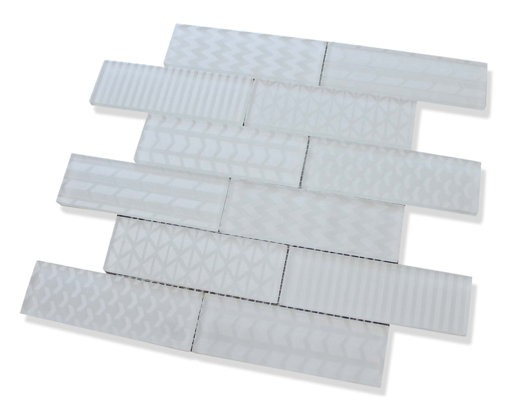 Quilted 2x6 Acid Etched Glass Mosaic Tiles - Ice