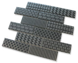 Quilted 2x6 Acid Etched Glass Mosaic Tiles - Midnight