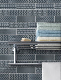 Quilted 2x6 Acid Etched Glass Mosaic Tiles - Ocean