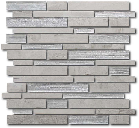 Dockside Glass and Porcelain Random Strip Mosaic Tile - Whitecap