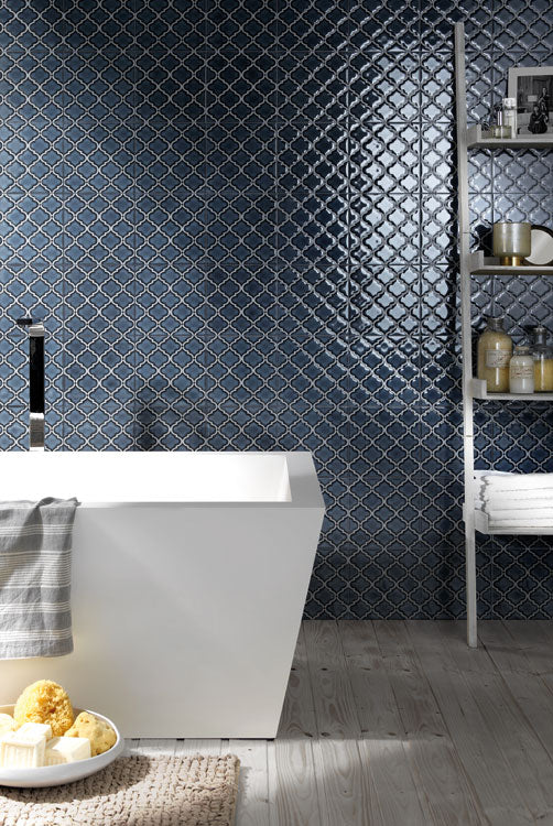Riflessi Arabesque Hand Glazed Porcelain Tiles - Blu Notte