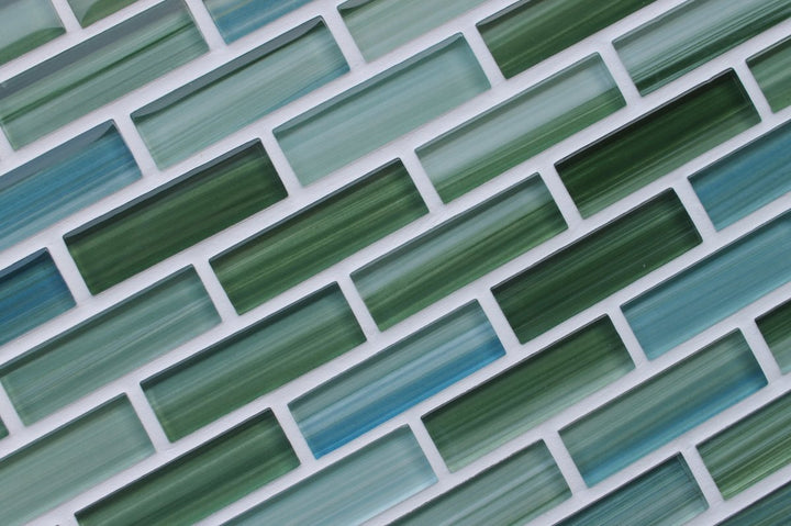 Rip Curl Green And Blue Hand Painted Glass Subway Mosaic