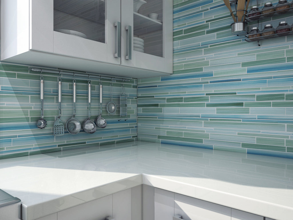 Rip Curl Hand Painted Linear Glass Mosaic Tiles - Rocky Point Tile - Glass and Mosaic Tile Store