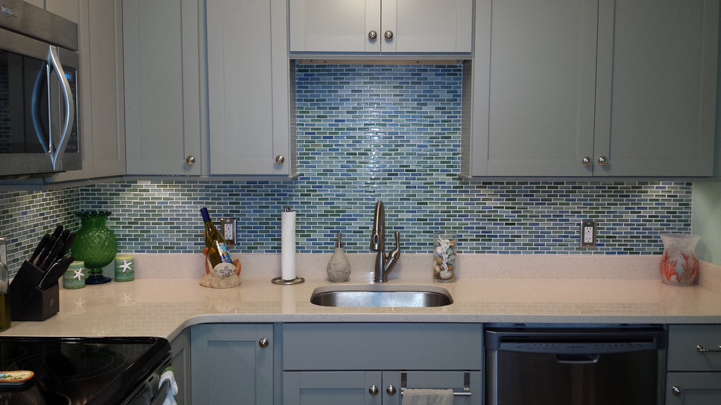 Rip Curl Green and Blue Hand Painted Glass Subway Mosaic Tiles - Rocky Point Tile - Glass and Mosaic Tile Store