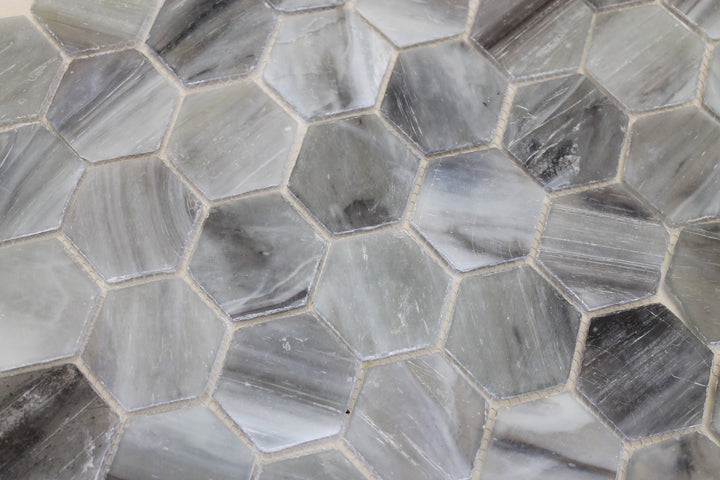 river rock recycled hexagon glass mosaic tile rocky point tile glass and mosaic tile