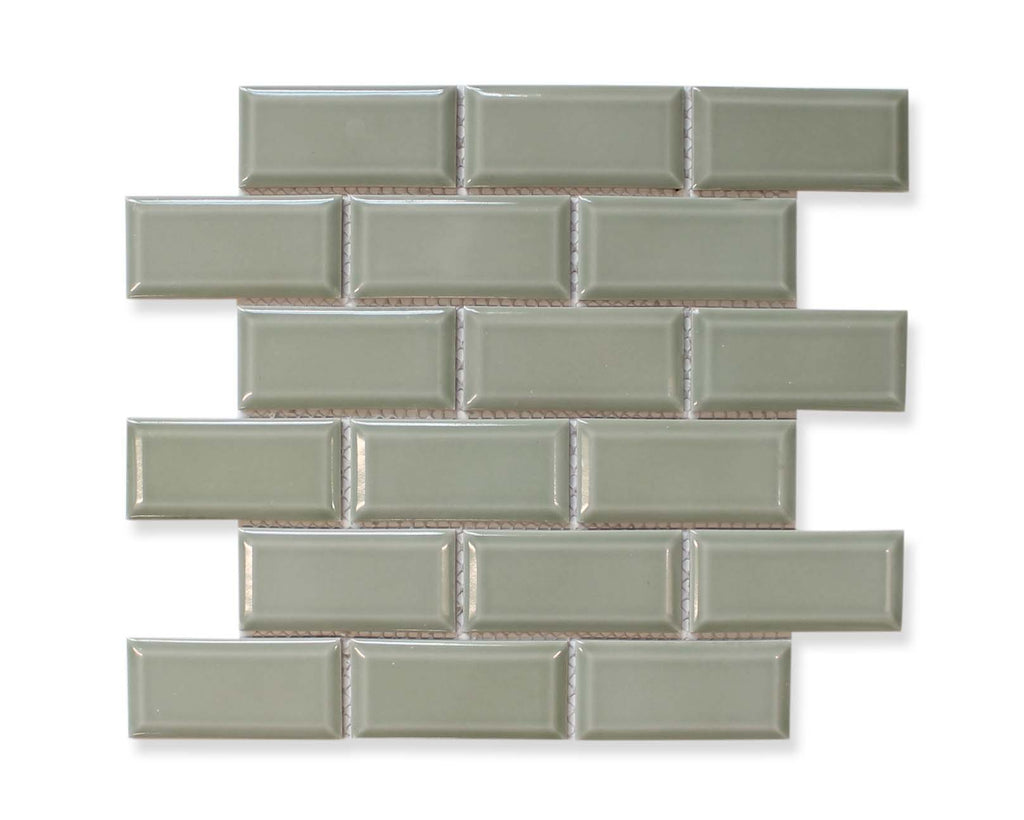Victorian Beveled Sage Gloss Mosaic Tile
