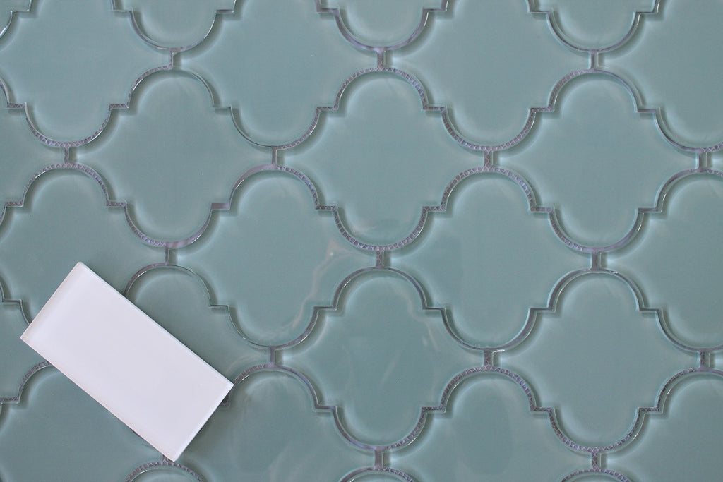 Seaside Arabesque Glass Mosaic Tiles Rocky Point Tile