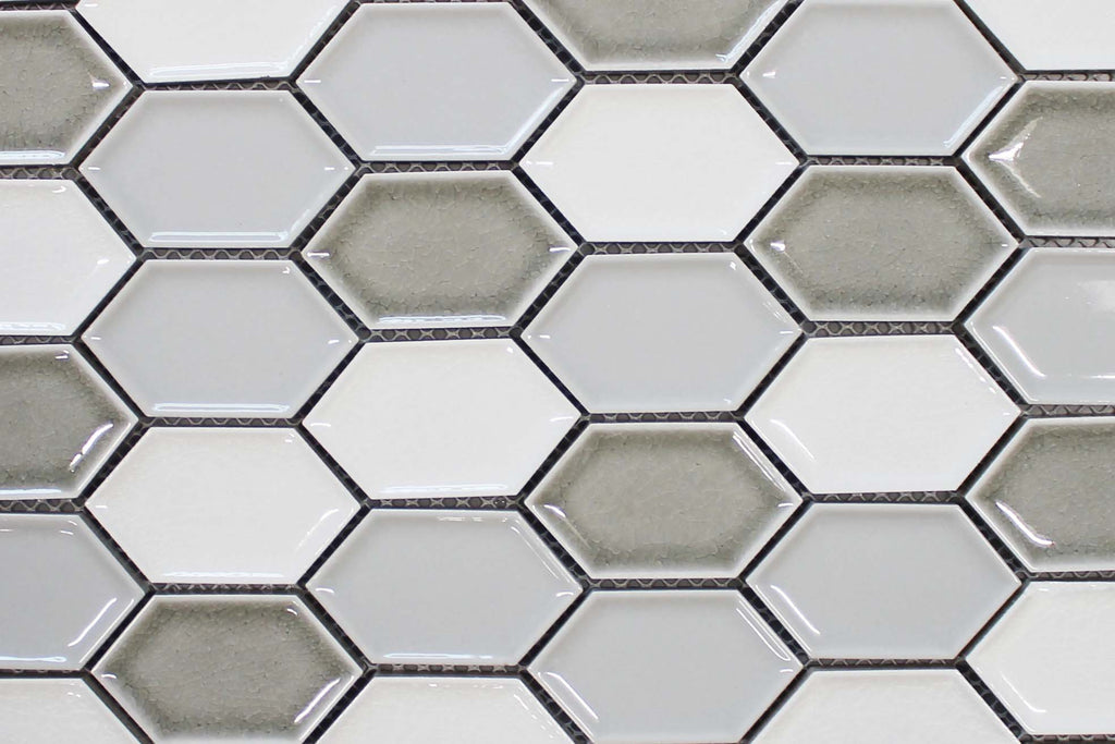 Honeycomb Beveled Picket Porcelain Mosaic Tiles - Silver Ice