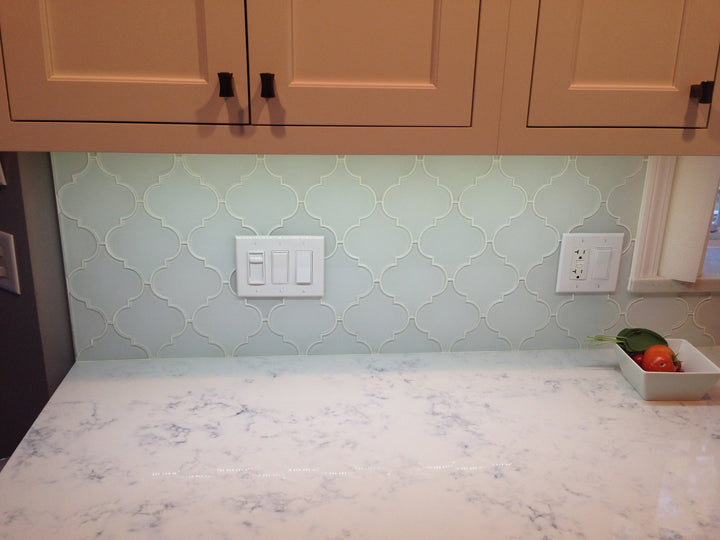 ... Snow White Arabesque Glass Mosaic Tiles   Rocky Point Tile   Glass And Mosaic  Tile Store ...
