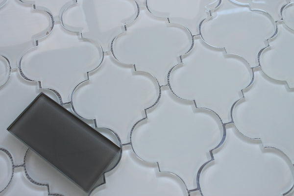 Snow White Arabesque Glass Mosaic Tiles Rocky Point Tile