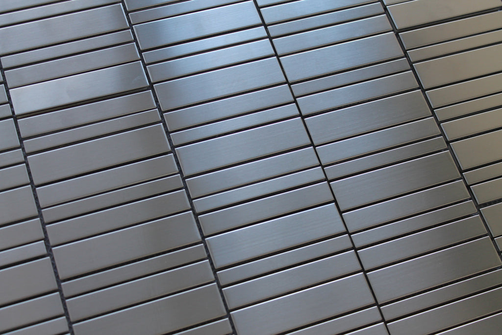 Stainless Steel Random Rows Mosaic Tiles - Rocky Point Tile - Glass and Mosaic Tile Store