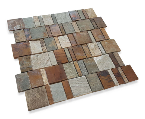 Stone and Aluminum Mosaic Tile - Terre Copper - Rocky Point Tile - Glass and Mosaic Tile Store
