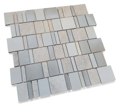 Stone and Aluminum Mosaic Tile - Titanio White - Rocky Point Tile - Glass and Mosaic Tile Store