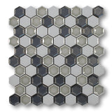 Honeycomb Beveled Hexagon Porcelain Mosaic Tiles - Storm Gray