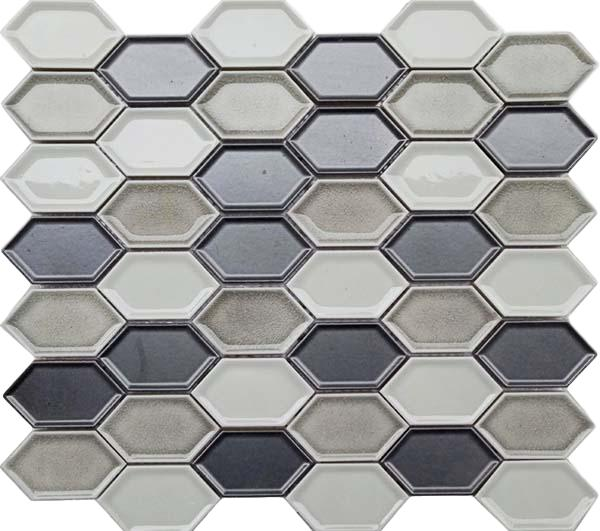 Honeycomb Beveled Picket Porcelain Mosaic Tiles - Storm Gray