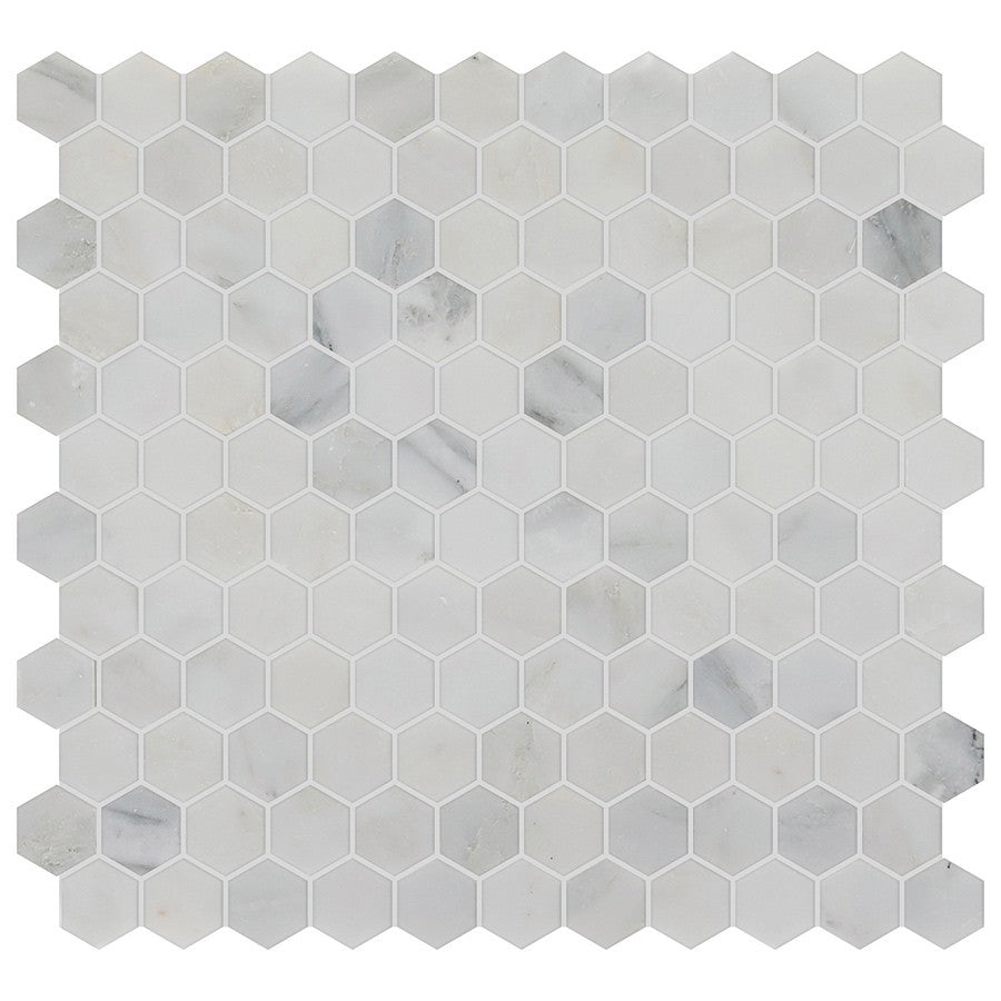 "Studio Marble Polished 1"" Hexagon Mosaic Tiles - Bianco Macchiato"