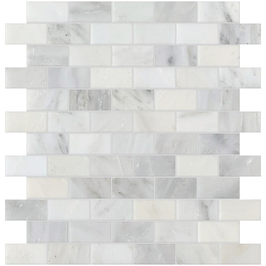 "Studio Marble Polished 1"" x 2"" Mini Brick Mosaic Tiles - Bianco Macchiato"
