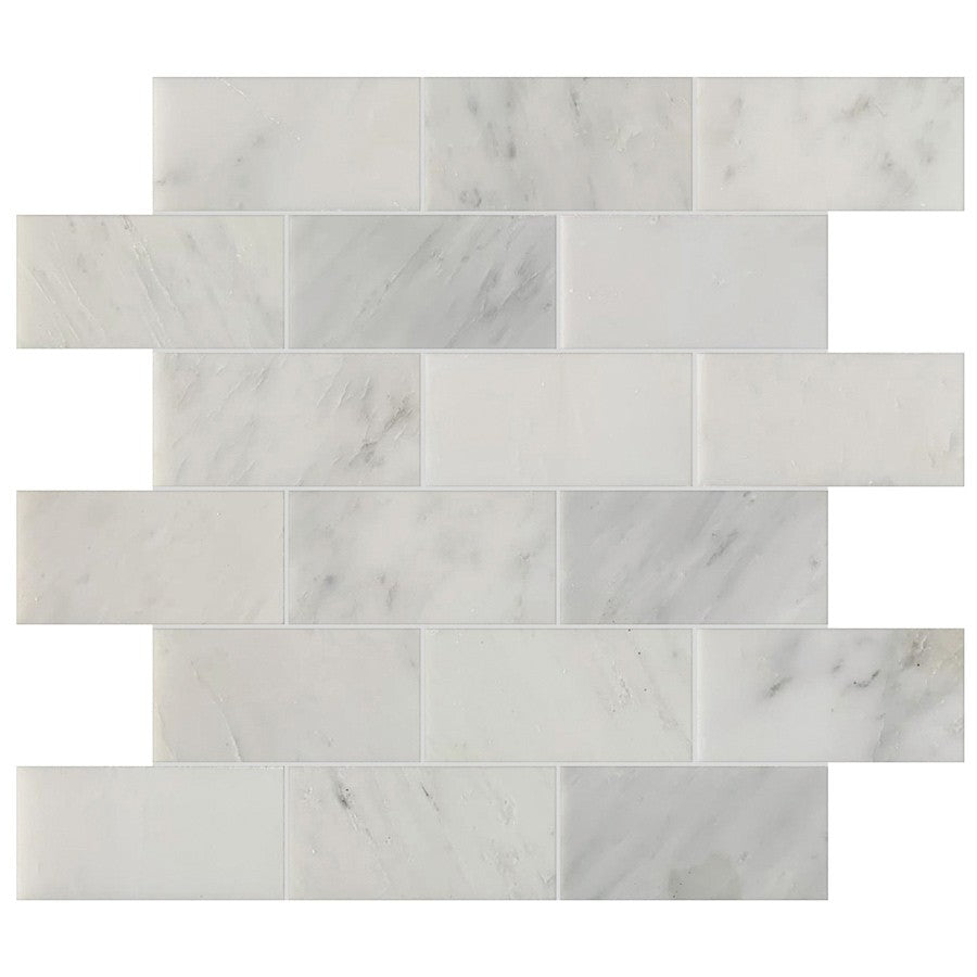 "Studio Marble Polished 2"" x 4"" Brick Mosaic Tiles - Bianco Macchiato"