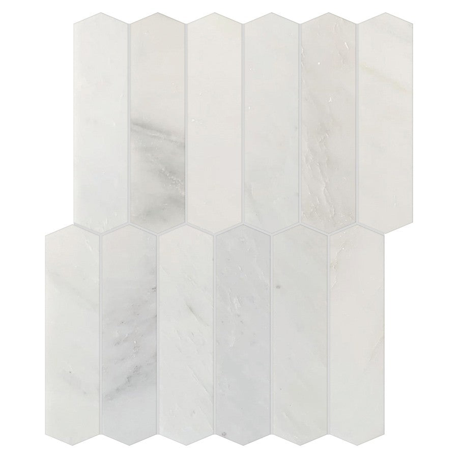 Studio Marble Polished Large Picket Mosaic Tiles - Bianco Macchiato