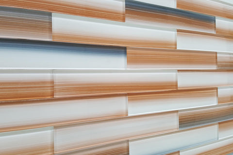 Sunset Beach Hand Painted 2x12 Glass Subway Tiles - Rocky Point Tile - Glass and Mosaic Tile Store