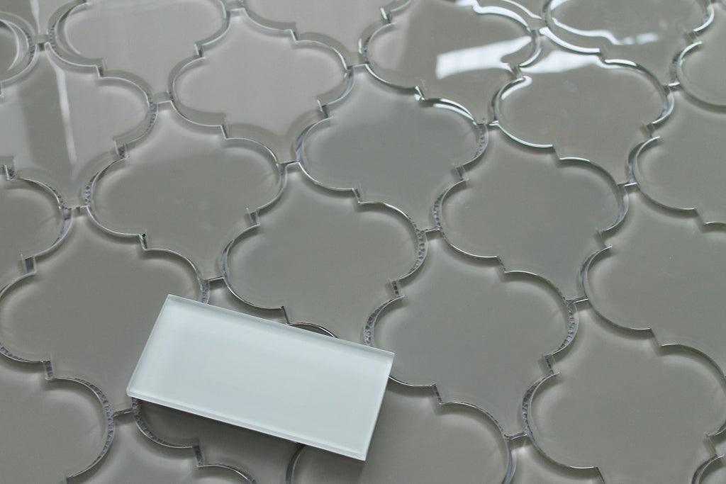 Taupe Arabesque Glass Mosaic Tiles Rocky Point Tile