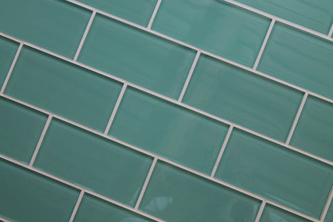 Teal Green 3x6 Glass Subway Tiles - Rocky Point Tile - Glass and Mosaic Tile Store