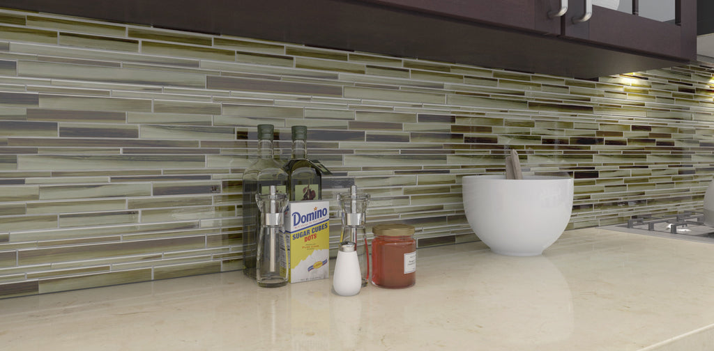 Utaupia Hand Painted Linear Glass Mosaic Tiles - Rocky Point Tile - Glass and Mosaic Tile Store